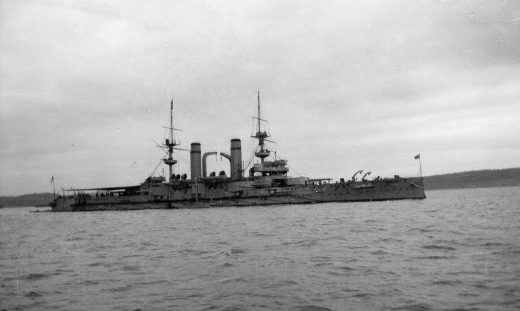 Detail of Battleship HMS 'Triumph' (1903), at anchor in the Firth of Forth by unknown