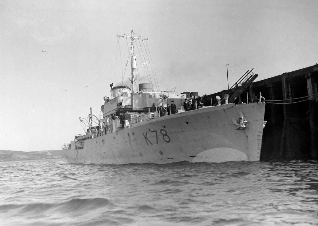 Detail of Photograph of starboard bow view of HMS 'Rhododendron' (1940) dated pre October 1942 alongside quay. Pendant K78. by unknown