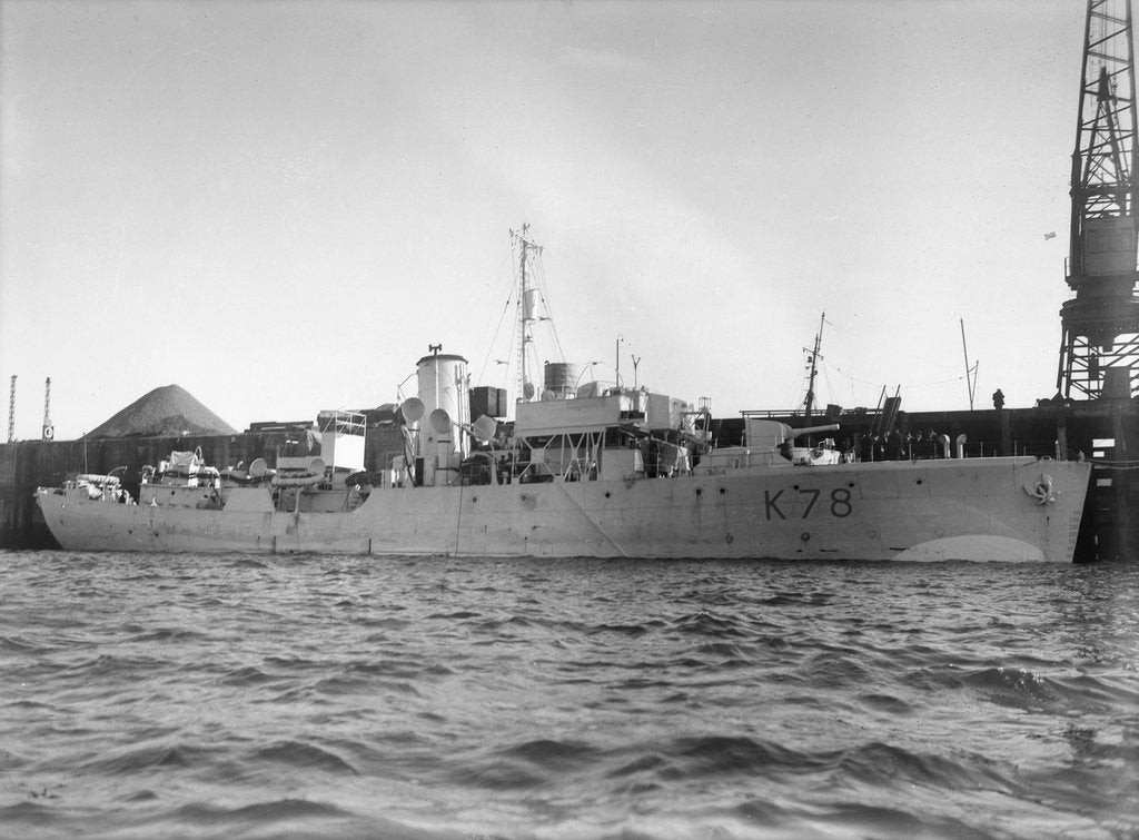 Detail of Photograph of starboard view just forward of the broadside of HMS 'Rhododendron' (1940) dated pre October 1942 alongside quay. Pendant K78. by unknown
