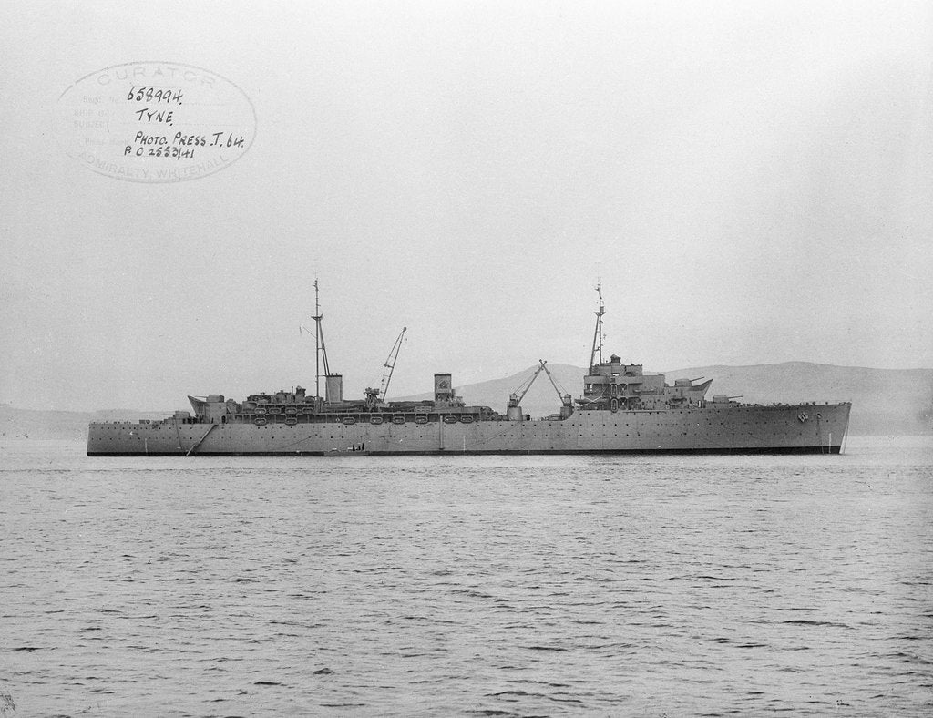 Detail of Destroyer depot ship, HMS 'Tyne' (1940) at anchor at Tail of the Bank off Greenock by Anonymous
