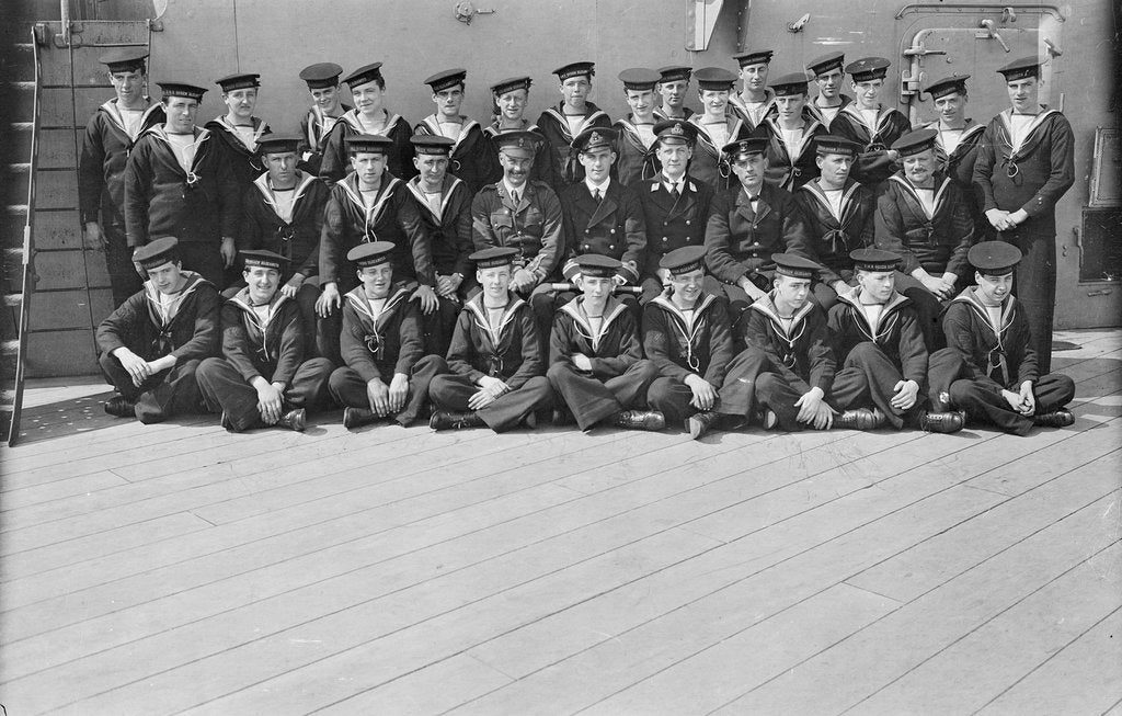 Detail of Signal ratings and petty officers with Captain H.K. Stephens, RMA, and Lieutenant T.D. Galbraith, RN on deck of 'Queen Elizabeth' (1913) by unknown