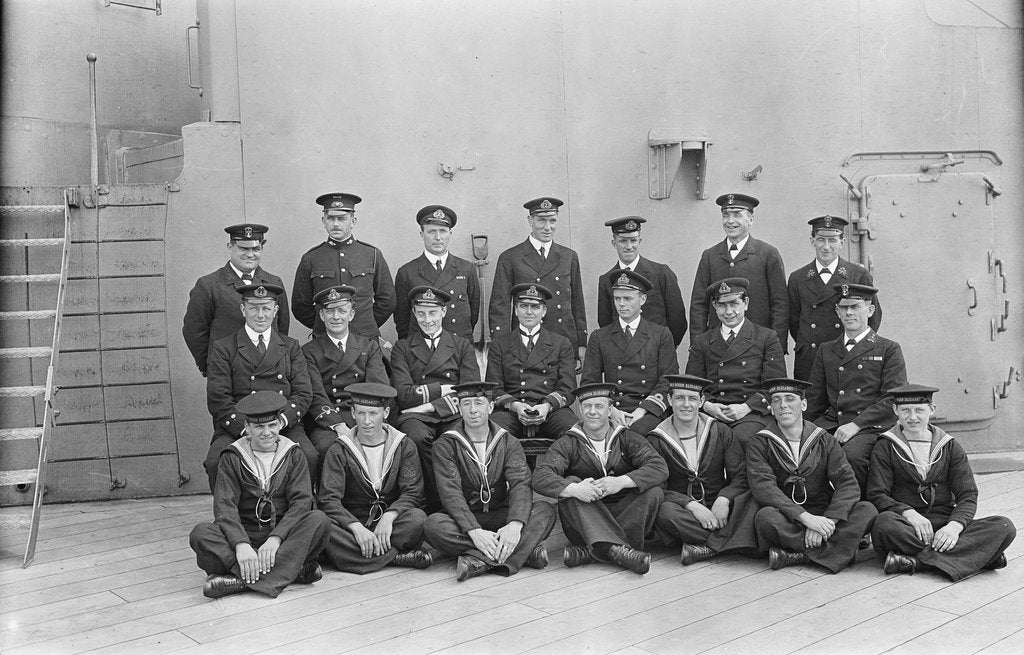 Detail of The gunnery staff with Lt. Com. T.H. Binney, Lt. H.R.G. Kinahan and Lt. H.B. Deedes of 'Queen Elizabeth' (1913) by unknown