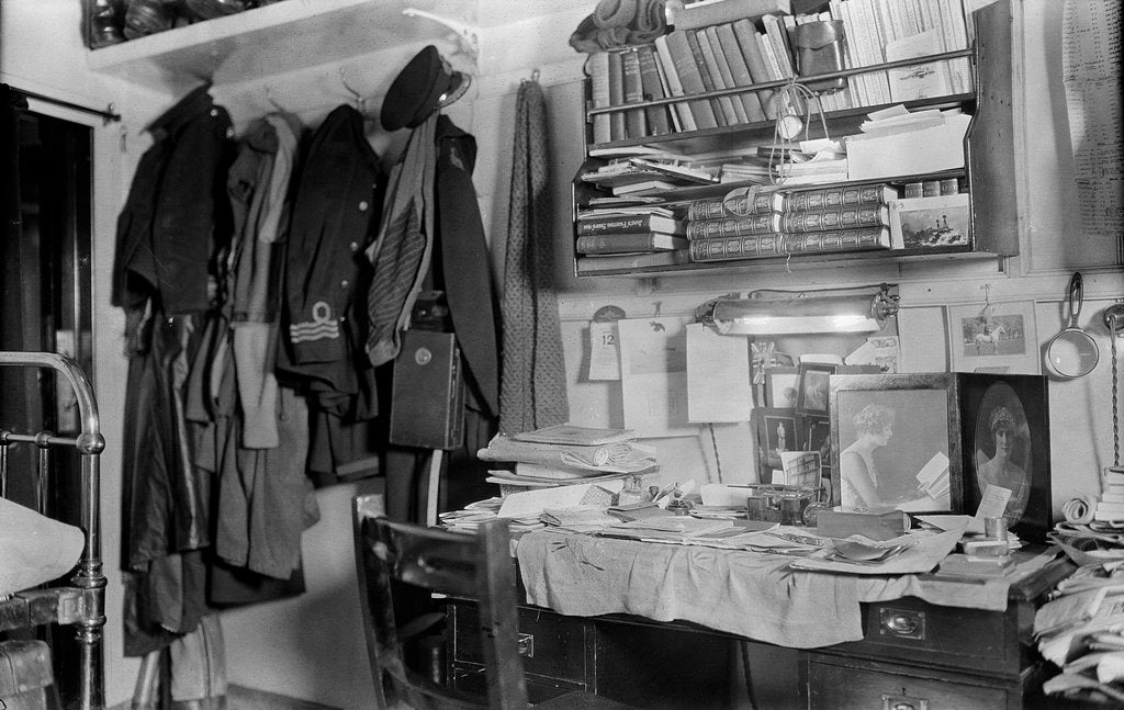 Detail of HMS 'Queen Elizabeth' (1913). The cabin of Commander the Viscount Curzon, RNVR, 12 April 1916. The First World War. by unknown