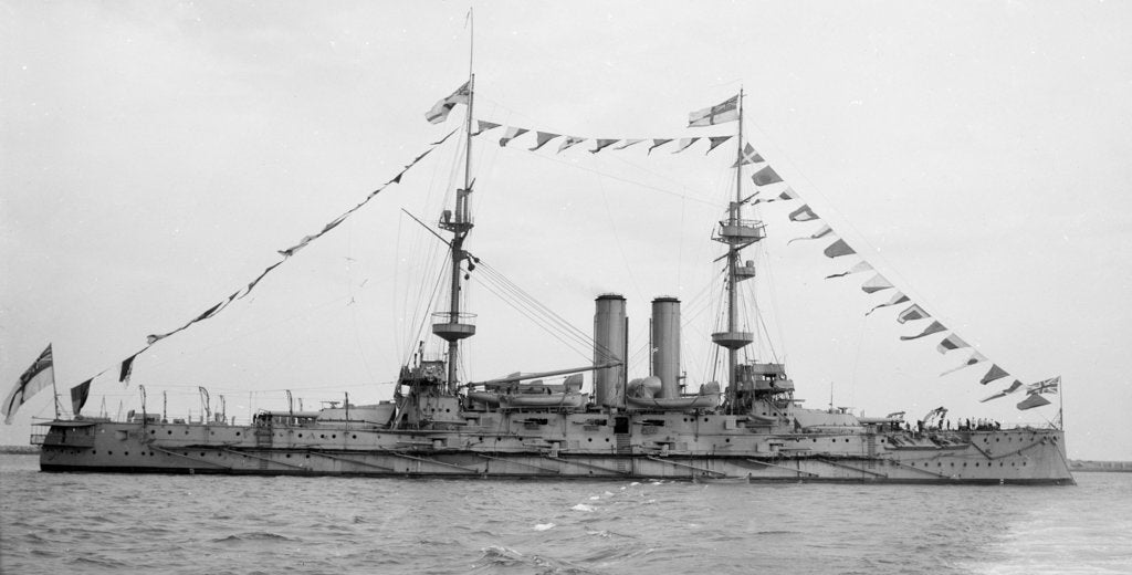 Detail of Battleship HMS 'Goliath' (1898) at anchor, dressed overall by unknown