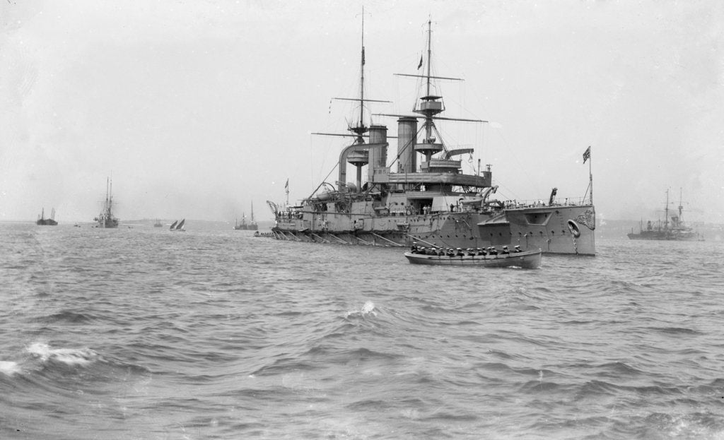Detail of Battleship HMS 'Triumph' (1903) at anchor, slightly distant by unknown