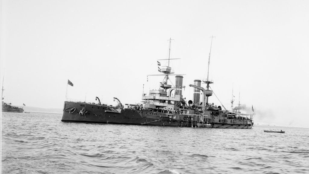 Detail of Battleship HMS 'Triumph' (1903) at anchor with awning aft by unknown