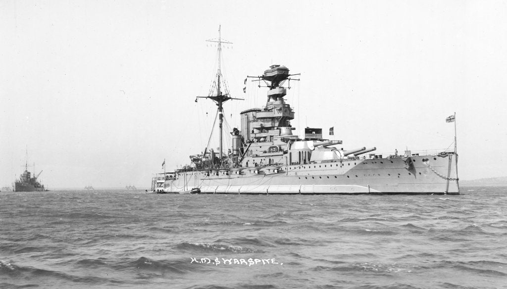 Detail of Battleship HMS 'Warspite' (1913) at anchor by unknown