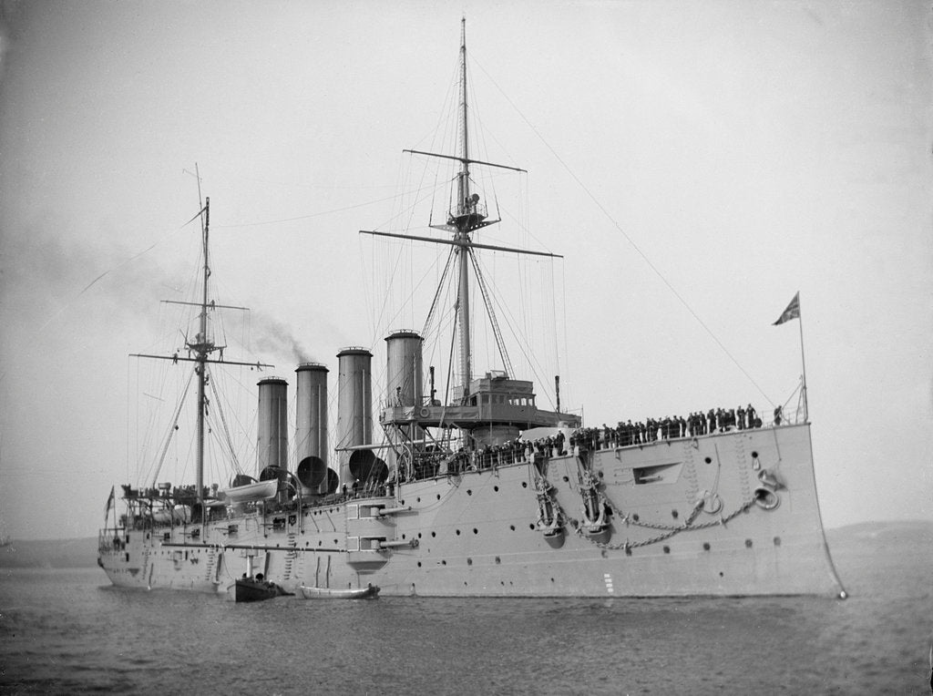 Detail of HMS 'Aboukir' (Br, 1900) armoured cruiser at anchor, flying paying off pennant by unknown