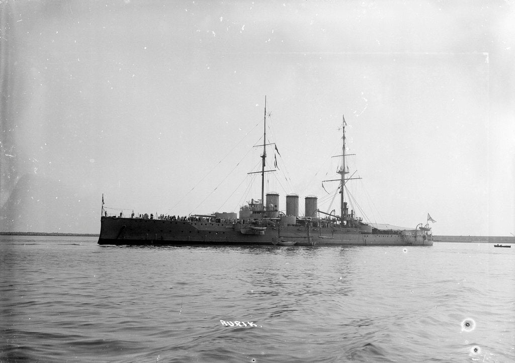Detail of Armoured cruiser 'Rurik' (Ru, 1906) at anchor at Portland with awning rigged aft by unknown
