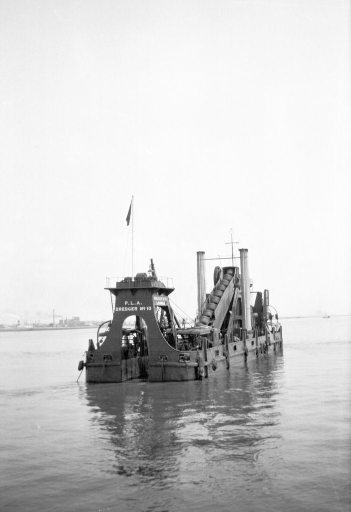 Detail of 'P.L.A. Dredger No 10' (1924) at anchor in the Thames in around 1930 by unknown
