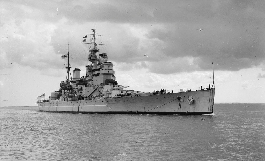 Detail of HMS 'King George V' (Br, 1939), under way, approaching Portsmouth Harbour by unknown