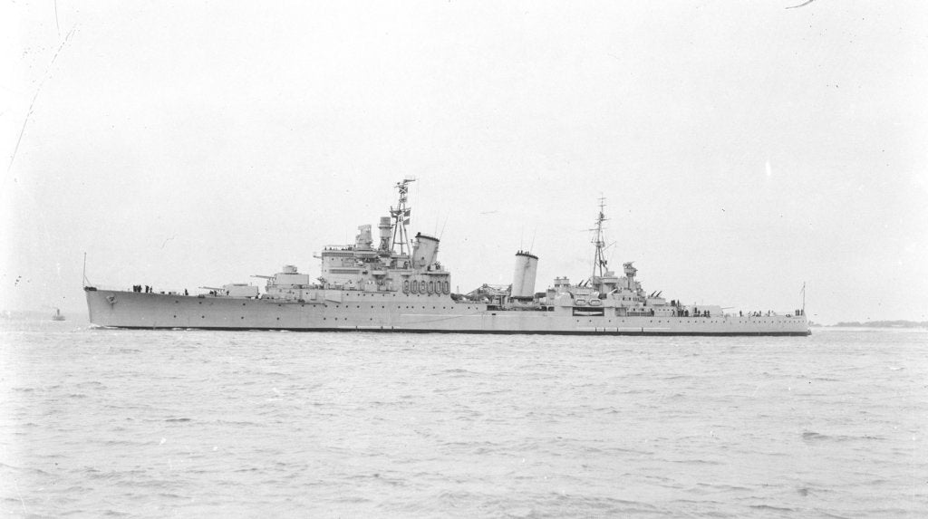 Detail of Light Cruiser HMS 'Birmingham' (1936) in September 1947, under way off Portsmouth by unknown