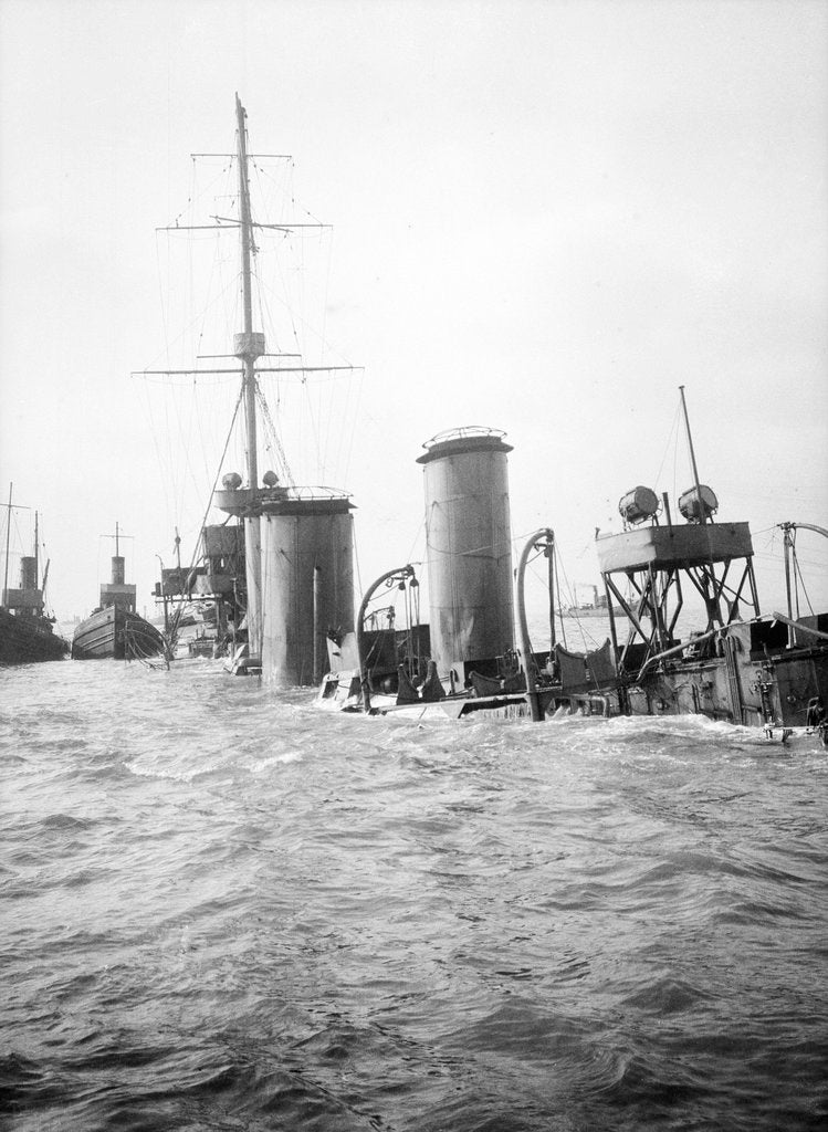 Detail of The superstructure and funnels of HMS 'Arethusa' (1913) aground on Cutler Shoal. by Lieutenant Geoffroy William Winsmore Hooper