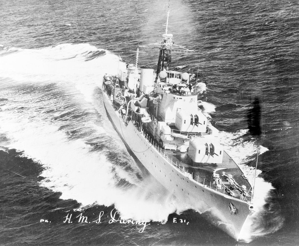 Detail of Destroyer HMS 'Daring' (1949) turning to starboard at high speed by unknown