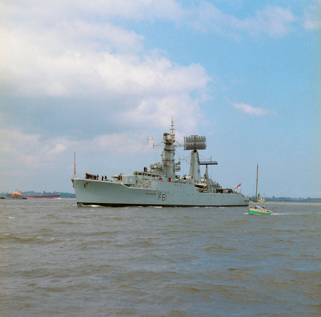 Detail of HMS 'Llandaff' (Br, 1955), under way off Shotle by unknown