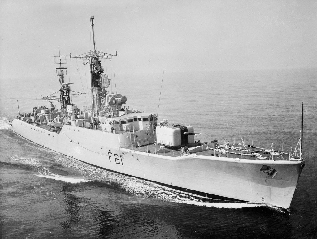 Detail of Frigate HMS 'Llandaff' (1955) under way at sea by unknown