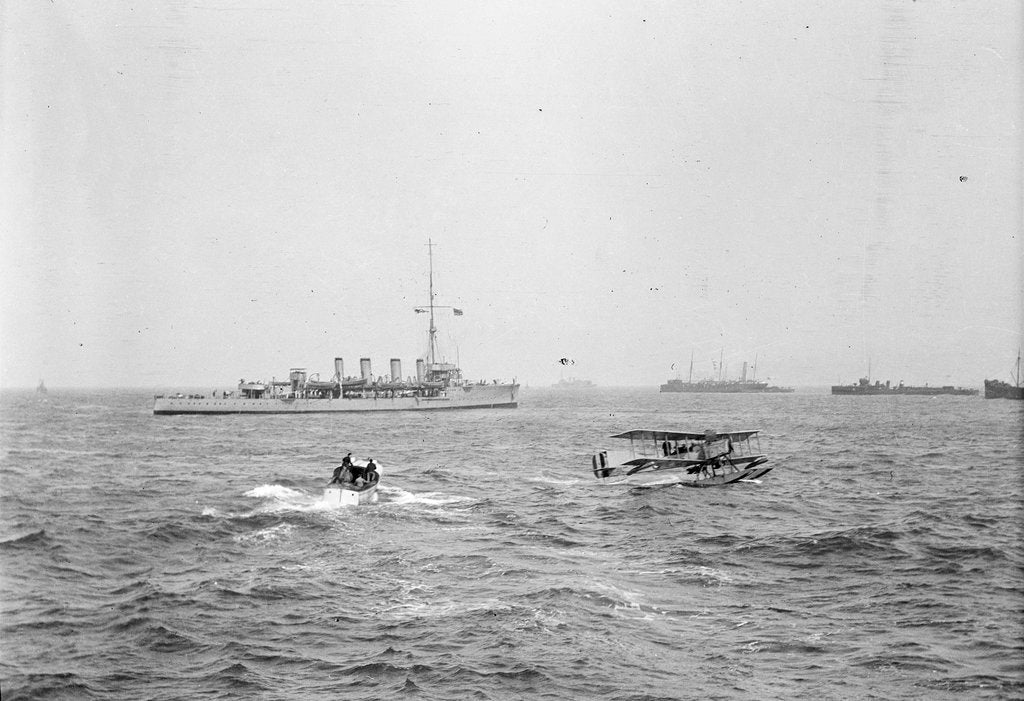 Detail of Scout cruiser HMS 'Attentive' (1904) in 1915-1916, at anchor off Dunkirk with a Short Type 184 seaplane in the foreground by unknown
