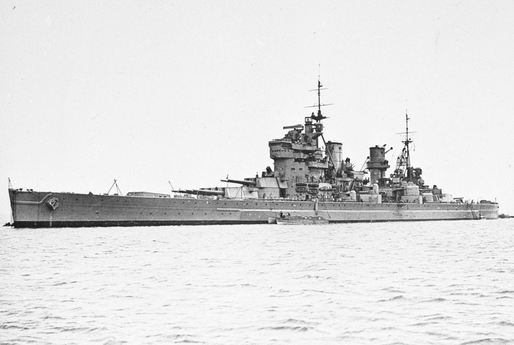 Detail of HMS 'King George V' (Br, 1939), at anchor, probably at Scapa Flow. with type 271 radar fitted by unknown