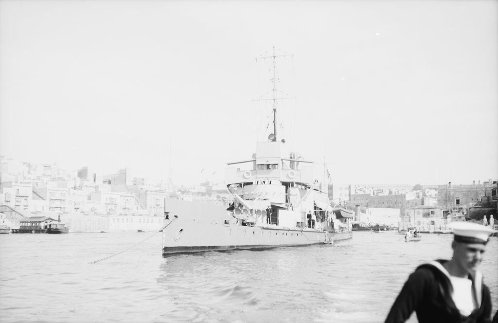 Detail of 'Aphis' (1915) anchored in Grand Harbour, Malta, near St. Angelo by unknown