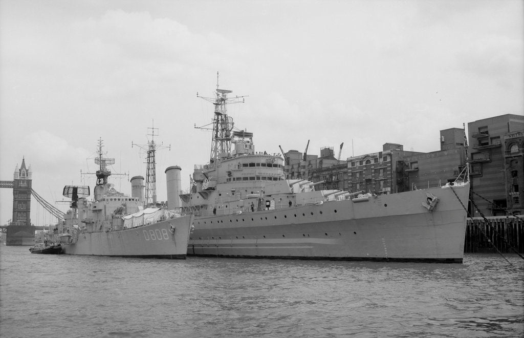 Detail of HMS 'Belfast' (1938) berthed at Symon's Wharf, Pool of London with the Dutch destroyer 'Holland' alongside by unknown