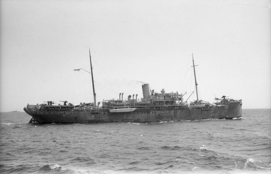 Detail of Armed boarding vessel HMS 'Chakdina' (1914)  under way en route Aden to Assab with the 15th Punjab Regiment on board by unknown