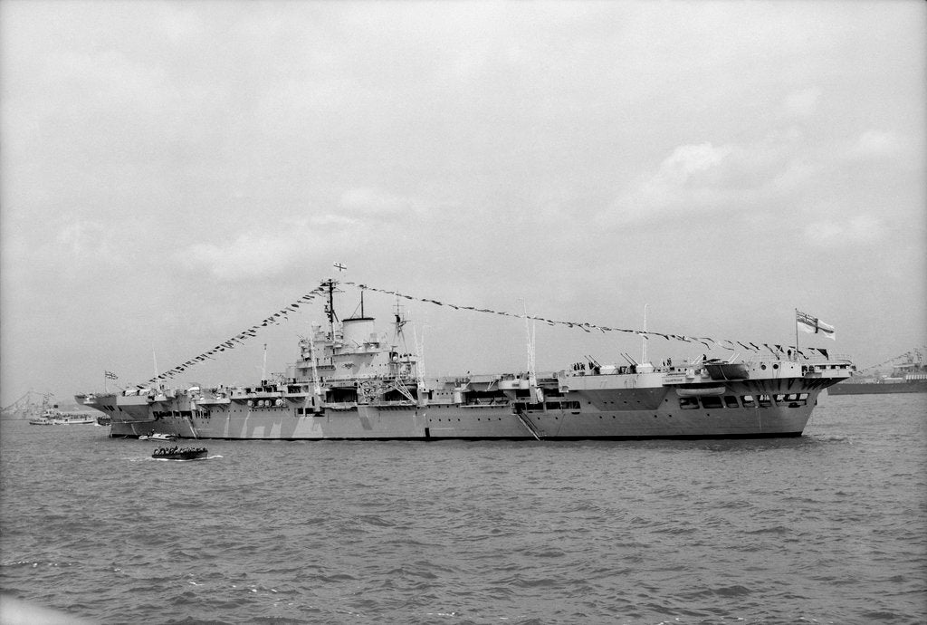 Detail of Aircraft carrier HMS 'Illustrious' (1939) on 15th June 1953, anchored in Line F at Spithead for the Coronation Review. Dressed overall by unknown