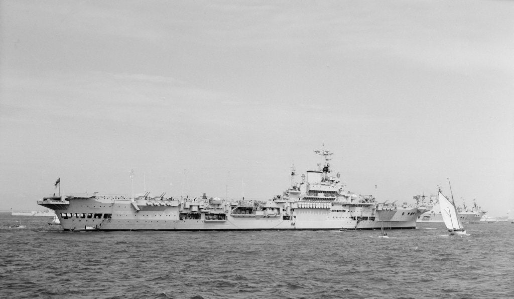 Detail of 'Indomitable' (Br, 1940) anchored in Line F at Spithead for the Coronation Review by unknown