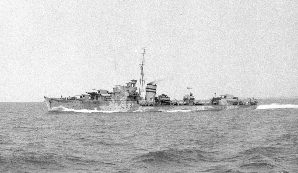 Detail of HMS 'Janus' (Br, 1938), under way at speed off Alexandria, passing HMS 'Phoebe' (Br, 1939), 12 May 1941 by unknown