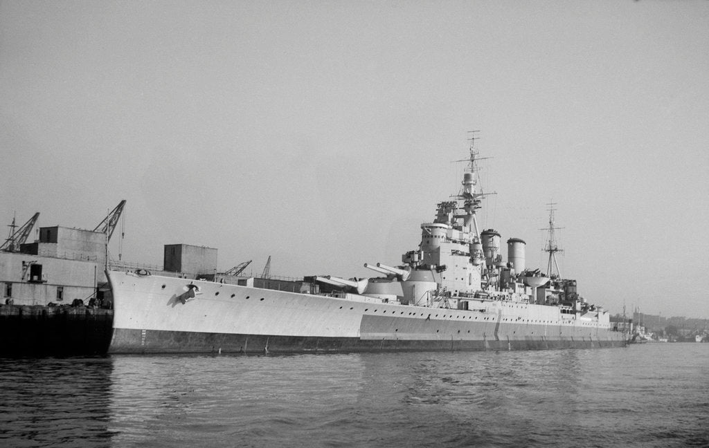 Detail of Battlecruiser HMS 'Renown' (1916) in 1945 alongside at Devonport, de-storing by unknown