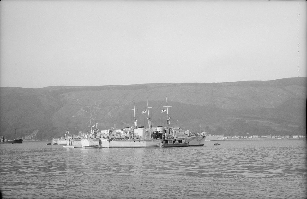 Detail of Photograph of vessel 'RML539' (1942) a starboard side view, taken from just abaft the beam, of the vessel at moorings in Holy Loch in 1945 with four other rescue launches in the same line by unknown