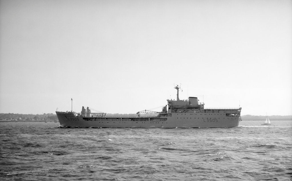 Detail of 'Stromness' (Br, 1966), stores support ship (HMS - RFA), under way at Spithead by unknown