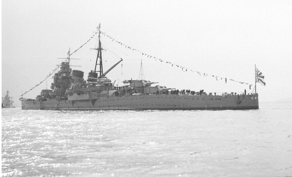 Detail of The heavy cruiser 'Ashigara' (Ja, 1928)  anchored in Line G at Spithead for the Coronation Review, dressed overall by unknown
