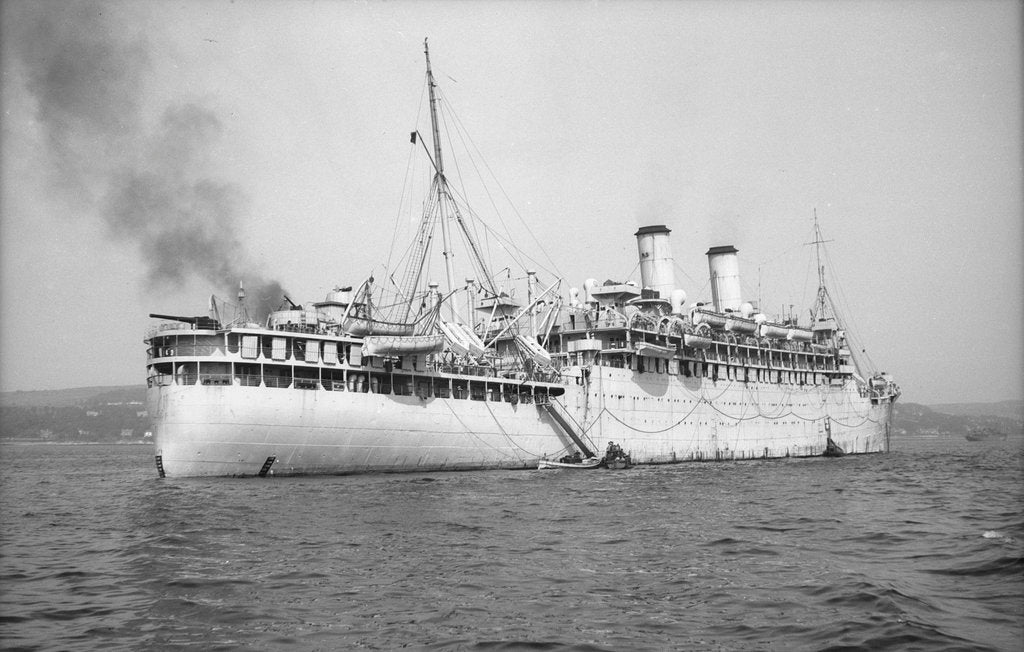 Detail of 'Otranto' (Br, 1925), at anchor on the Clyde as a troopship by unknown