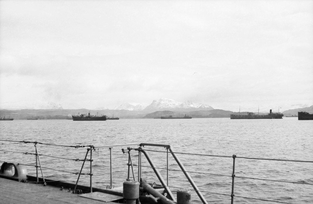 Detail of Merchant shipping, including two oil tankers, assembling at Loch Ewe in 1941 by unknown