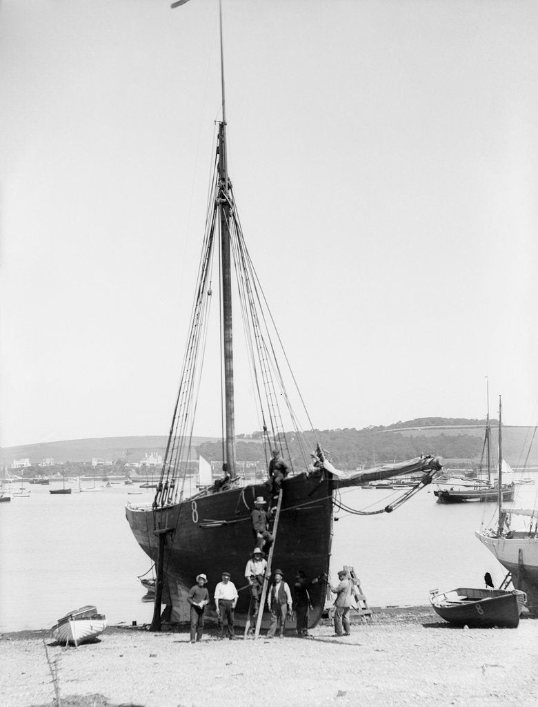 Detail of Pilot No. 8, the 'Vincent' (Br, 1852) on the beach at Falmouth by unknown