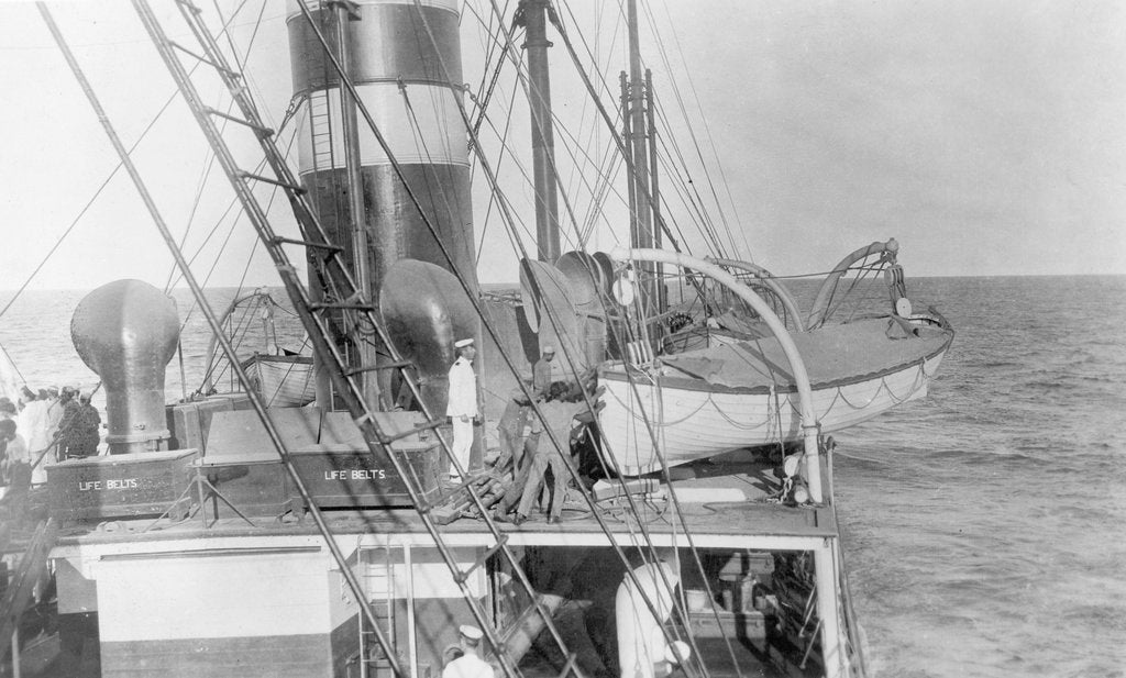 Detail of Deck and lifeboat view aboard cargo liner 'Craftsman' (Br, 1897), Charente S S Co Ltd by unknown