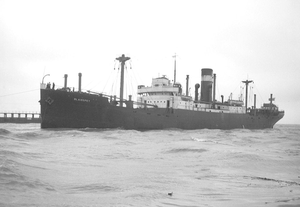 Detail of 'Blairspey' (Br, 1929) general cargo, under tow arriving at Swansea by unknown