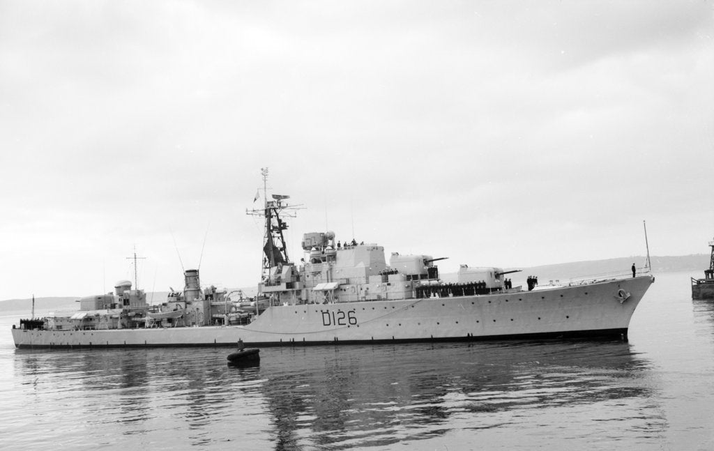 Detail of Destroyer HMS 'Diana' (1952) under way at Swansea, bound in by unknown