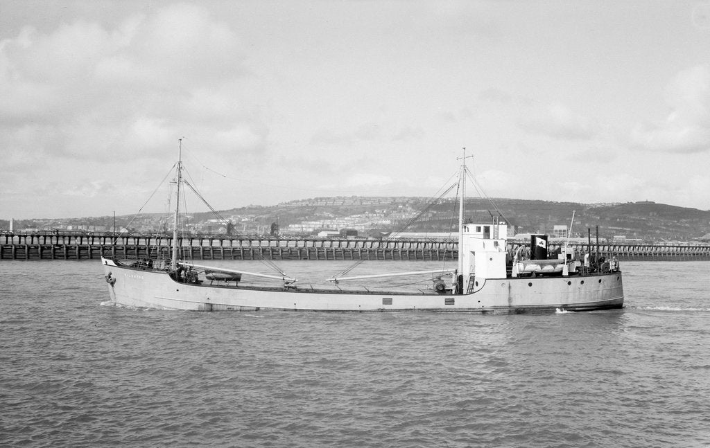 Detail of 'Kilbride' (1942) in March 1959 under way at Swansea, bound out by unknown