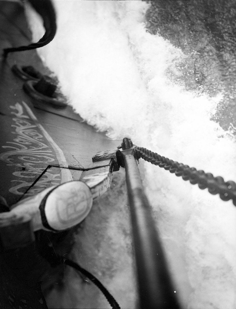 Detail of The cutwater cleaving its way beneath the bowsprit by Alan Villiers