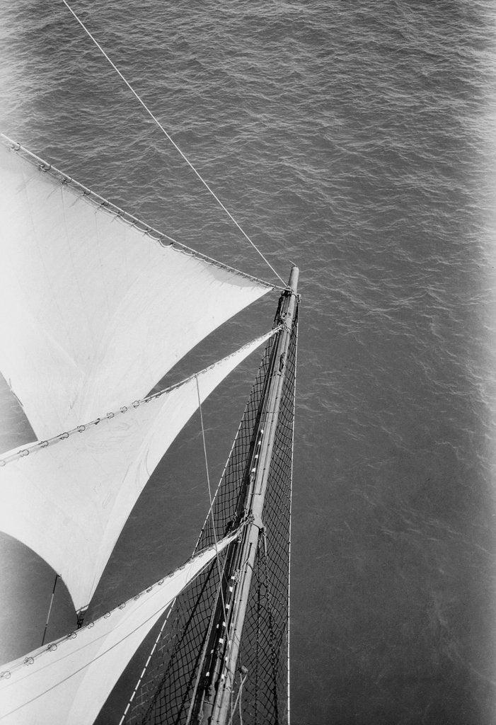Detail of Looking down onto the bowsprit aloft on the foremasts by Alan Villiers