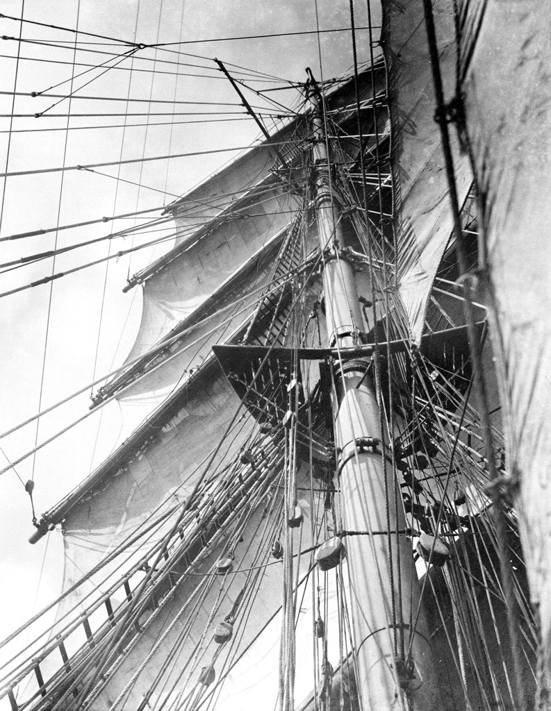 Detail of On board the 'Parma': looking aloft on the Mizzen, the interlacing stays supporting the mast by Alan Villiers