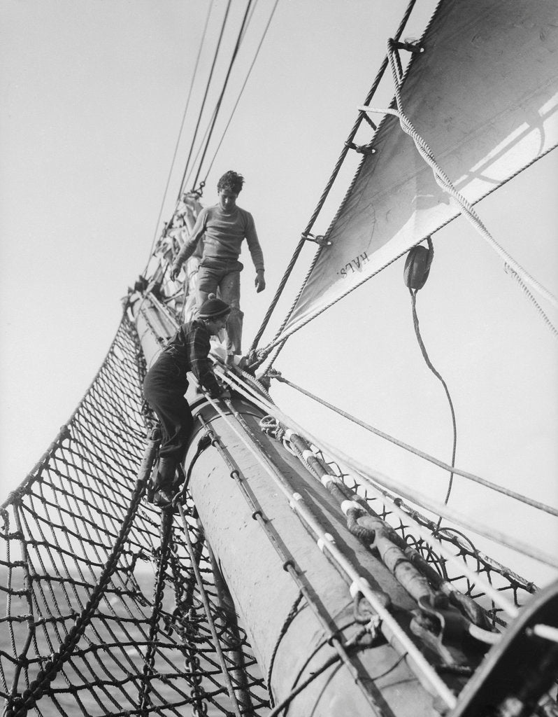 Detail of Apprentices on the bowsprit by Alan Villiers