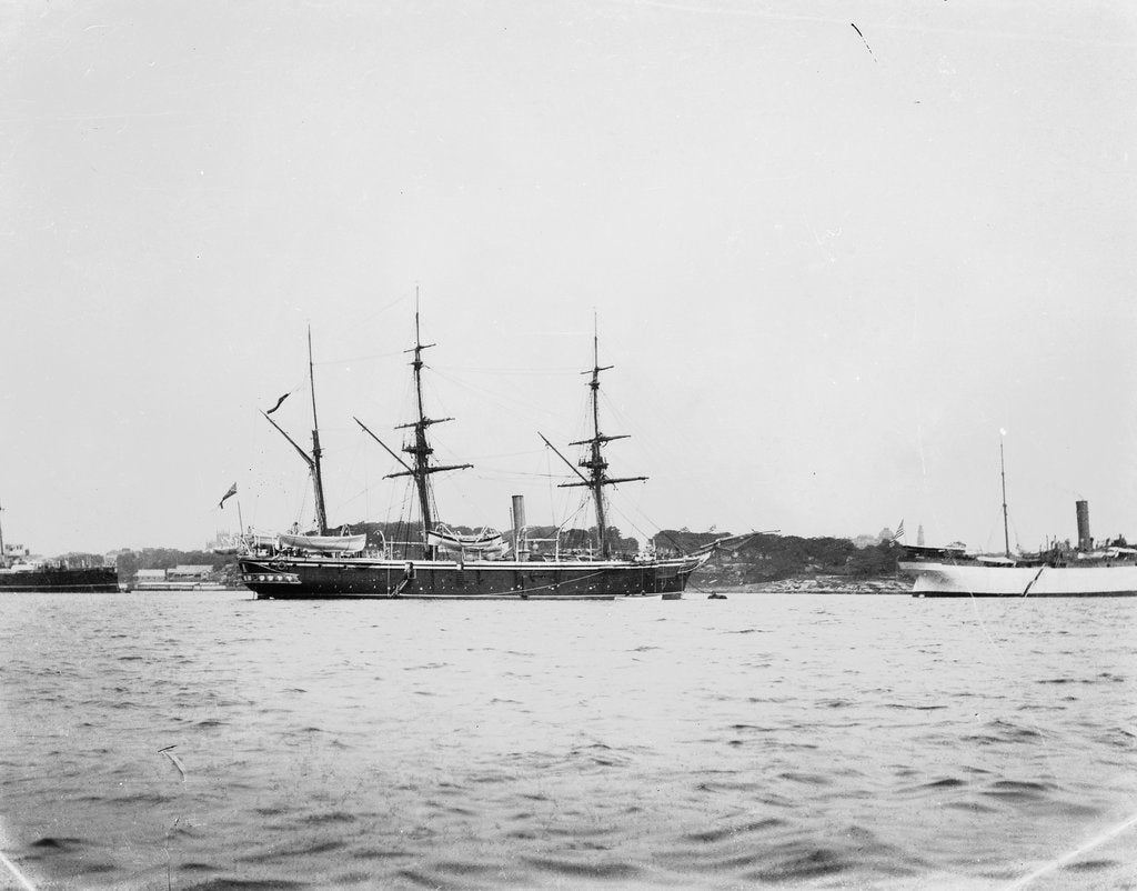 Detail of HMS 'Penguin' (1876) and USS 'Celtic' (1891) moored at Sydney Harbour by Willoughby Pudsey Dawson