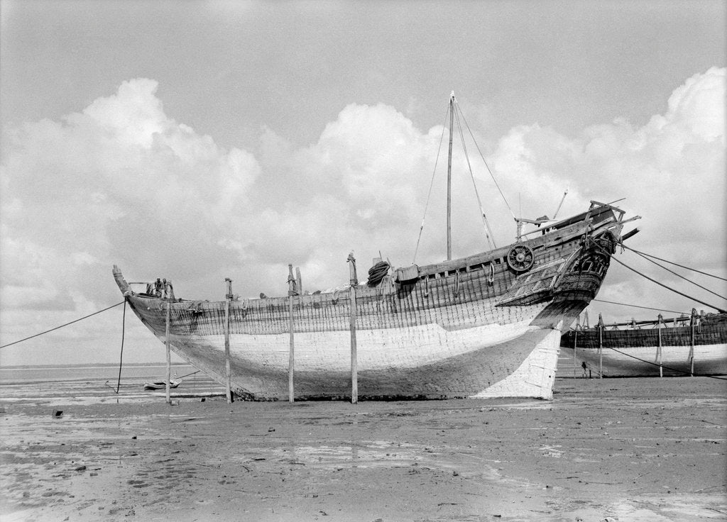 Detail of Side view probably of the 'Bedri' baggala, Kwale Island by Alan Villiers