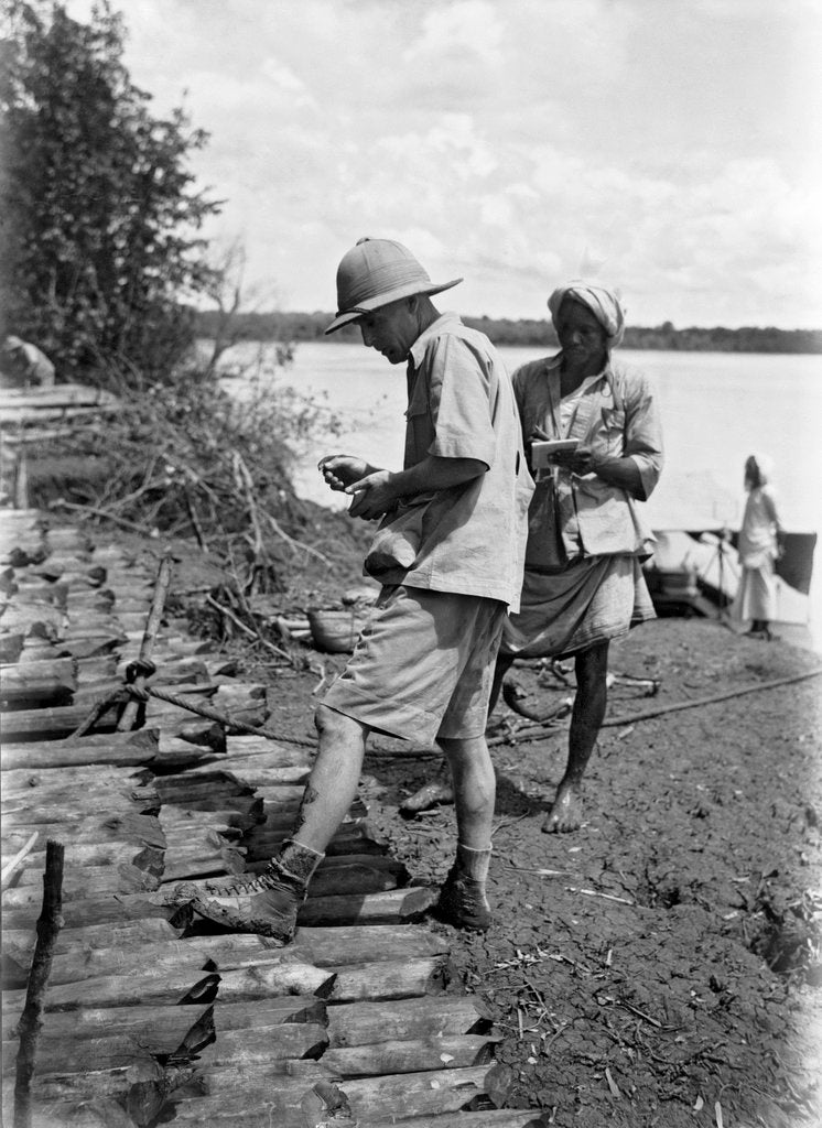 Detail of A British government official checking mangrove poles by Alan Villiers