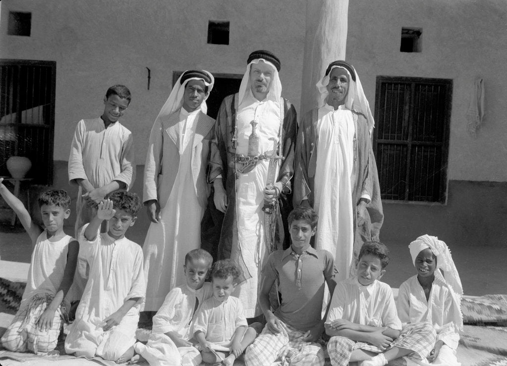 Detail of Alan Villiers with friends in Kuwait, 1939 by Alan Villiers