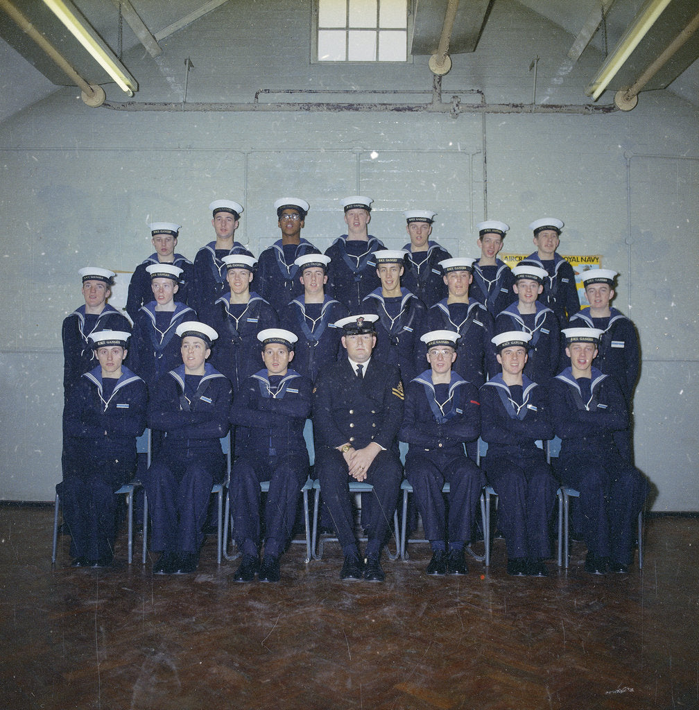 Detail of HMS Ganges formal class group photograph for Leander 042, 25th January 1976 by Reginald Arthur Fisk