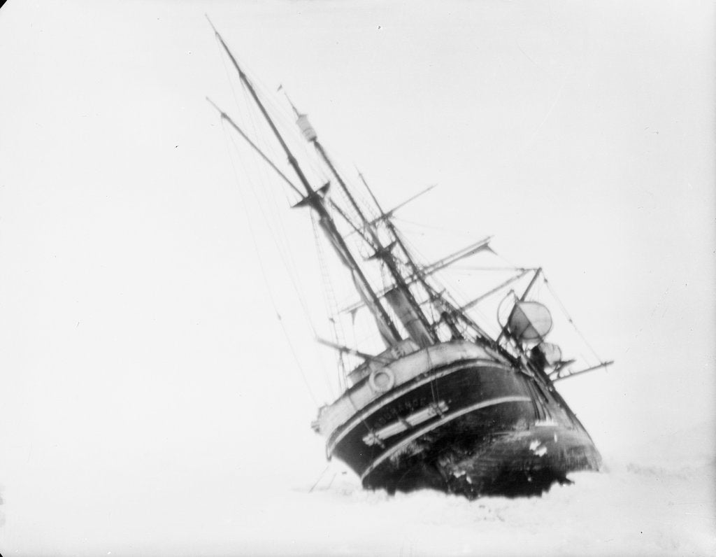 Detail of 'Endurance' heeled to port by the ice by unknown