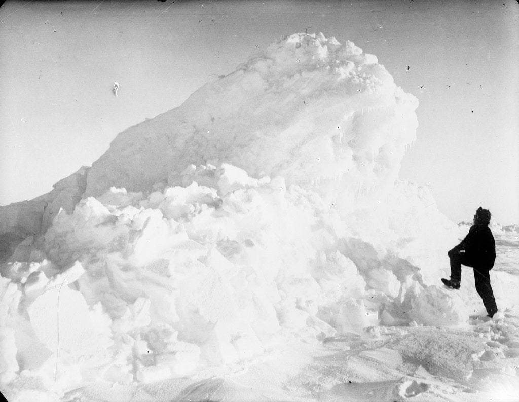 Detail of Captain Worsley standing by a large pressure ridge, Weddell Sea, Antarctica by unknown